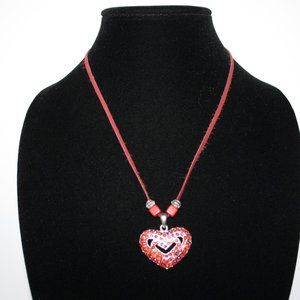 Red leather and rhinestone heart necklace